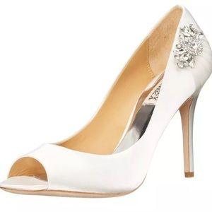 Badgley Mischka White Satin Bridal Heels